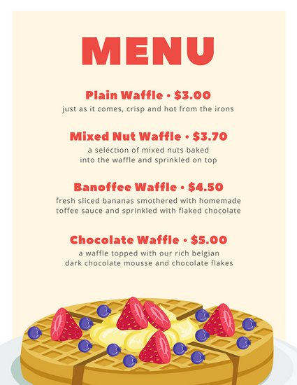 425x550 White With Cream Shape And Waffle Vector Breakfast Menu