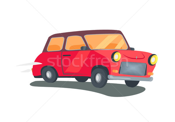 600x420 Icon Of Red Retro Two Door Station Wagon Vector Vector