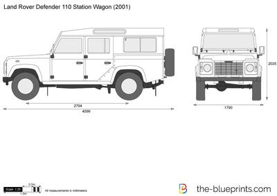 400x283 Land Rover Defender 110 Station Wagon Vector Drawing