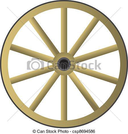 450x470 Old Wagon Wheel Clipart