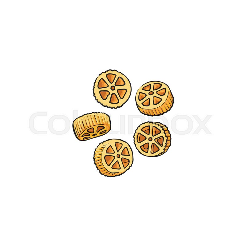 800x800 Raw, Uncooked Wagon Wheel Shaped Italian Pasta, Rotelle, Sketch