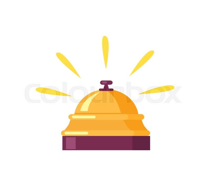 800x711 Tiny Ringing Golden Bell For Calling For Waiter. Vector