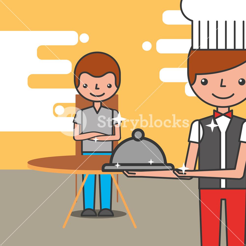 1000x1000 Hotel Service Restaurant Customer And Waiter Vector Illustration