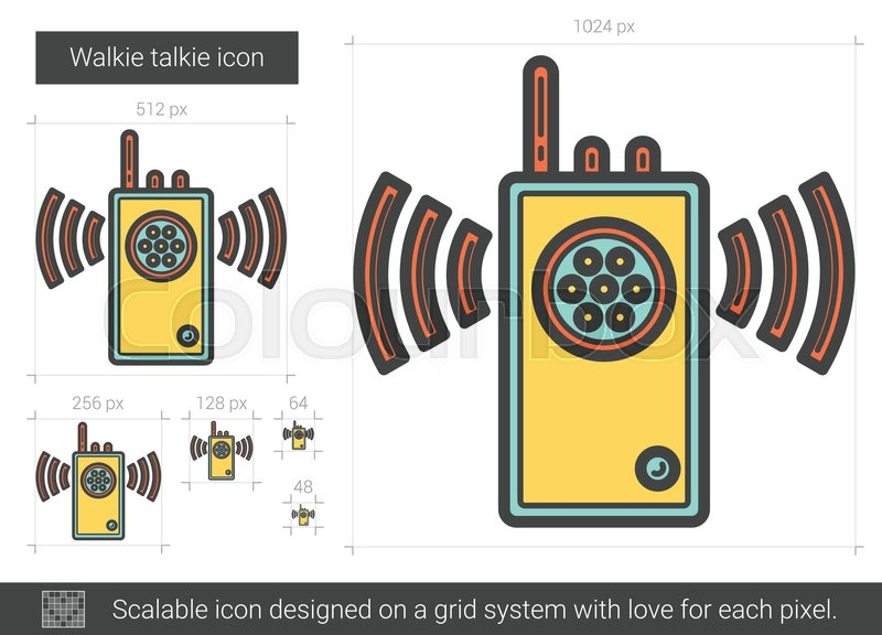 800x576 Walkie Talkie Vector Line Icon Isolated On White Background