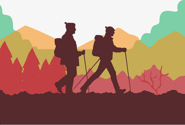650x440 Double Walking Vector, Walking Clipart, Mountain Forest, Red Png