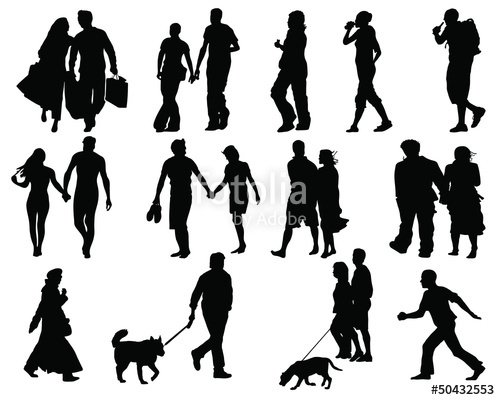 500x400 Set Of Walking People Silhouette Vector Stock Image And Royalty