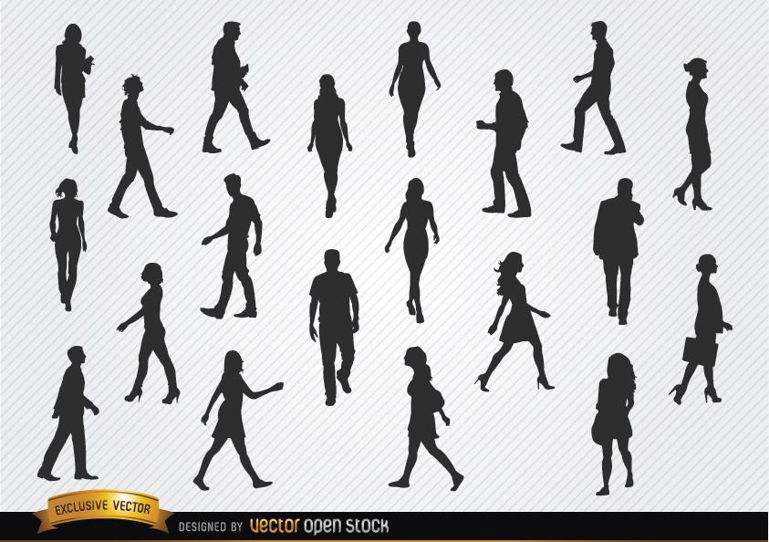 843x594 Walking People Silhouettes Set