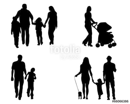 500x400 Black Silhouettes Of Family In Walks, Vector Stock Image And