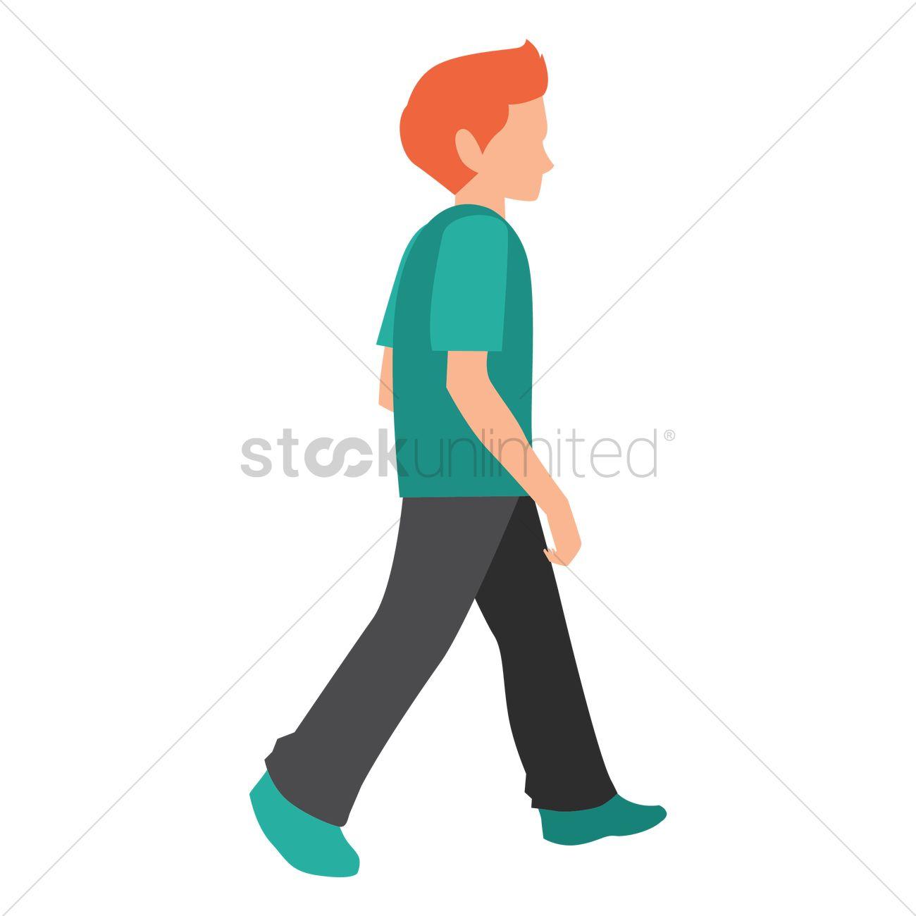 1300x1300 Boy Walking Vector Image