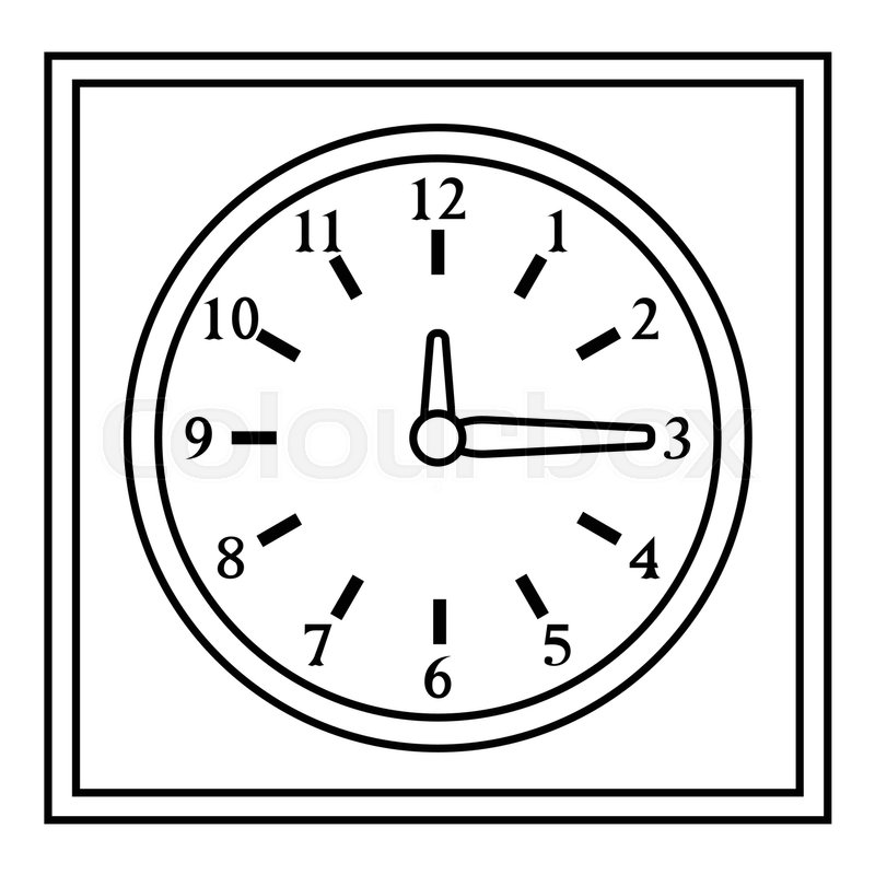 800x800 Square Wall Clock Icon. Outline Illustration Of Square Wall Clock