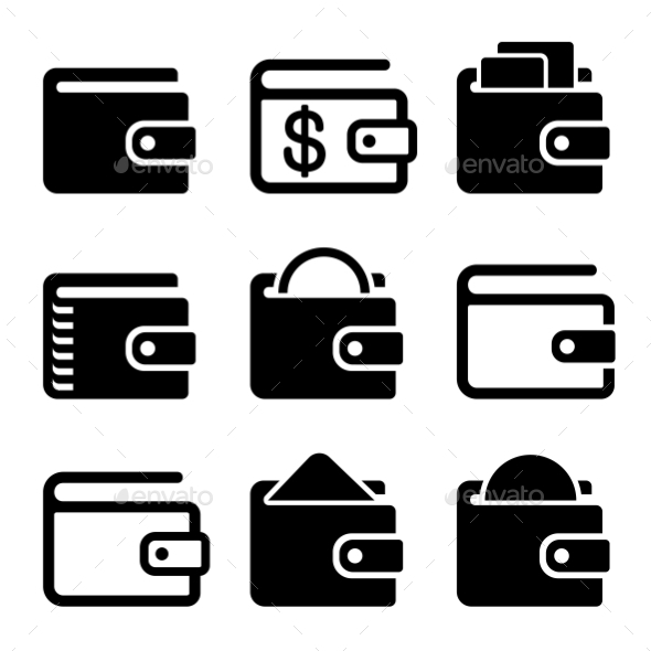 590x590 Wallet Icons Set On White Background. Vector By In Finity