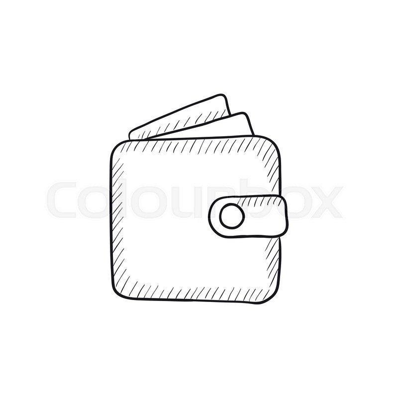 800x800 Wallet Sketch Icon For Web, Mobile And Infographics. Hand Drawn