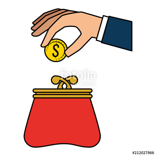 500x500 Hand With Coins And Wallet Vector Illustration Design Stock Image