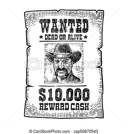 450x470 Wanted Poster With Man In Hat. Vintage Engraving. Wanted Poster
