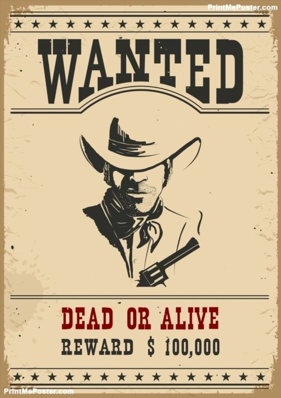 565x800 Wanted Poster.vector Western Illustration Poster In 2018 Wanted