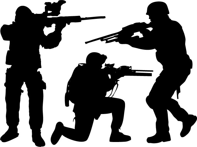 668x499 Modern Soldiers And Weaponry Vectors