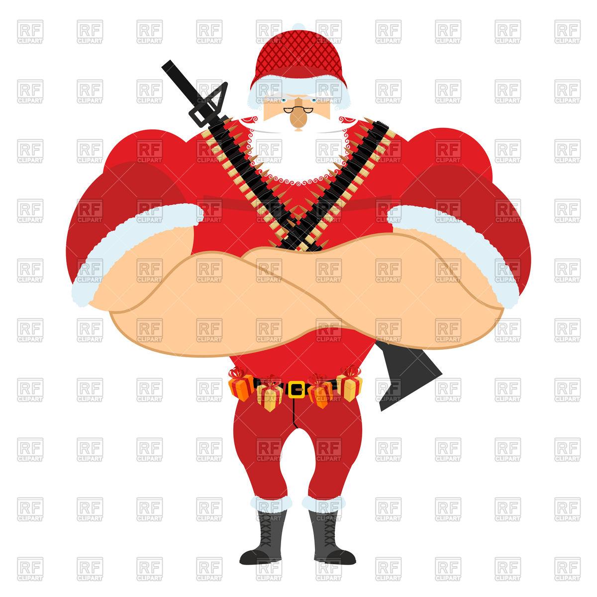1200x1200 Santa Claus In Soldier Uniform, Christmas War Vector Image