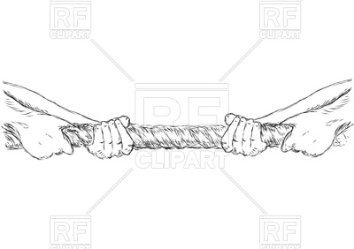 400x282 Tug Of War With Human Hands And Rope Isolated On A White