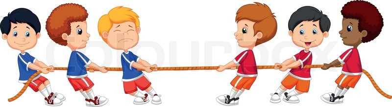 800x219 Vector Illustration Of Group Cartoon Of Children Playing Tug Of