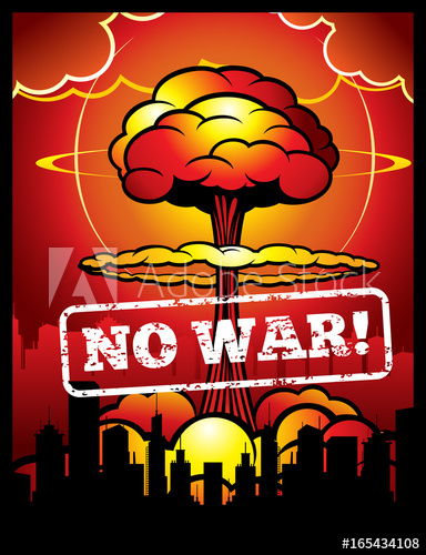 384x500 Vintage No War Vector Poster With Explosion Of Atomic Bomb And