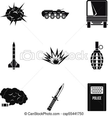 438x470 Act Of War Icons Set, Simple Style. Act Of War Icons Set. Simple
