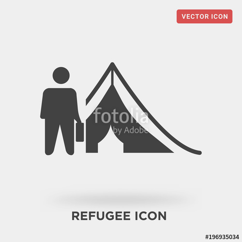 500x500 Refugee Icon On Grey Background, In Black, Consequences Of War