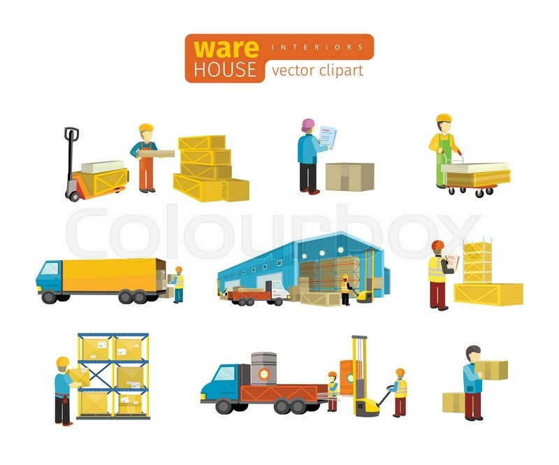 800x665 Set Of Equipment Delivery Process Of The Warehouse. Interior
