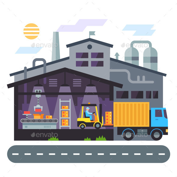 590x590 Vector Flat Warehouse Building By Tastyvector Graphicriver