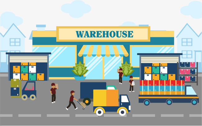 650x407 Vector Hand Painted Warehouse, Vector, Hand Painted, Warehouse Png