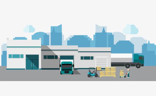 650x400 Vector Warehouse, Cartoon Warehouse, Truck, Warehouse Appearance