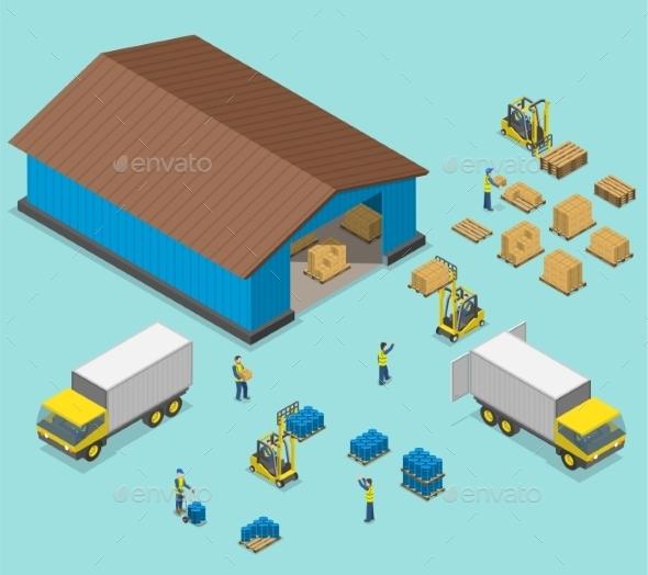 590x524 Warehouse Isometric Flat Vector Illustration By Tarikvision