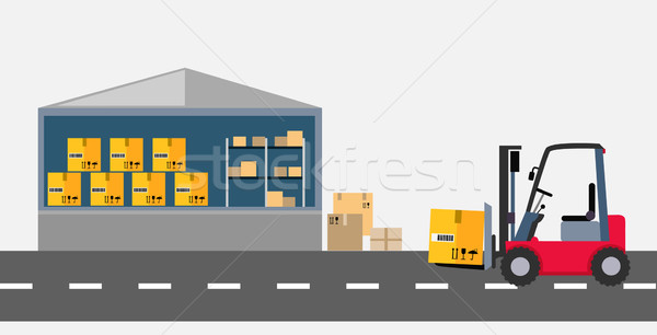 600x306 Warehouse And Stackers Flat Design Vector Illustration Robuart