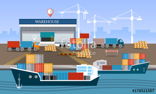 500x300 Warehouse And Shipping Port Logistic, Shipping And Delivery