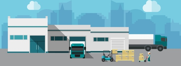 600x220 Warehouse Building Vector Illustration With Delivery Activity Free
