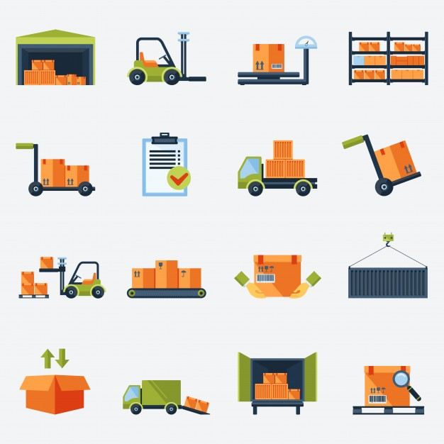 626x626 Warehouse Transportation And Delivery Icons Flat Set Isolated