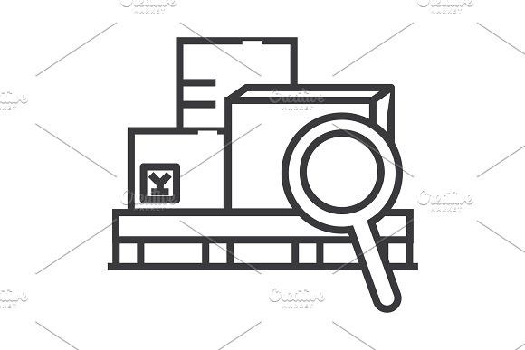 580x387 Warehouse Vector Line Icon, Sign, Illustration On Background