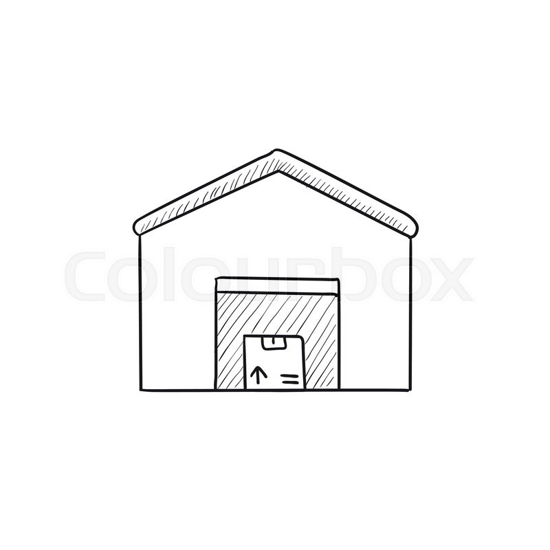 800x800 Warehouse Vector Sketch Icon Isolated On Background. Hand Drawn