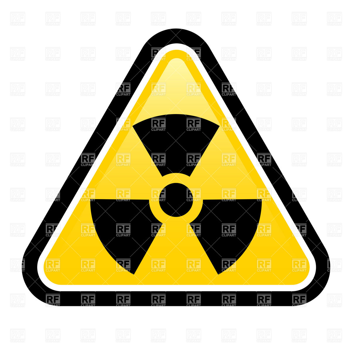 1200x1200 Yellow Triangle Sign With A Radiation Warning Symbol Vector Image