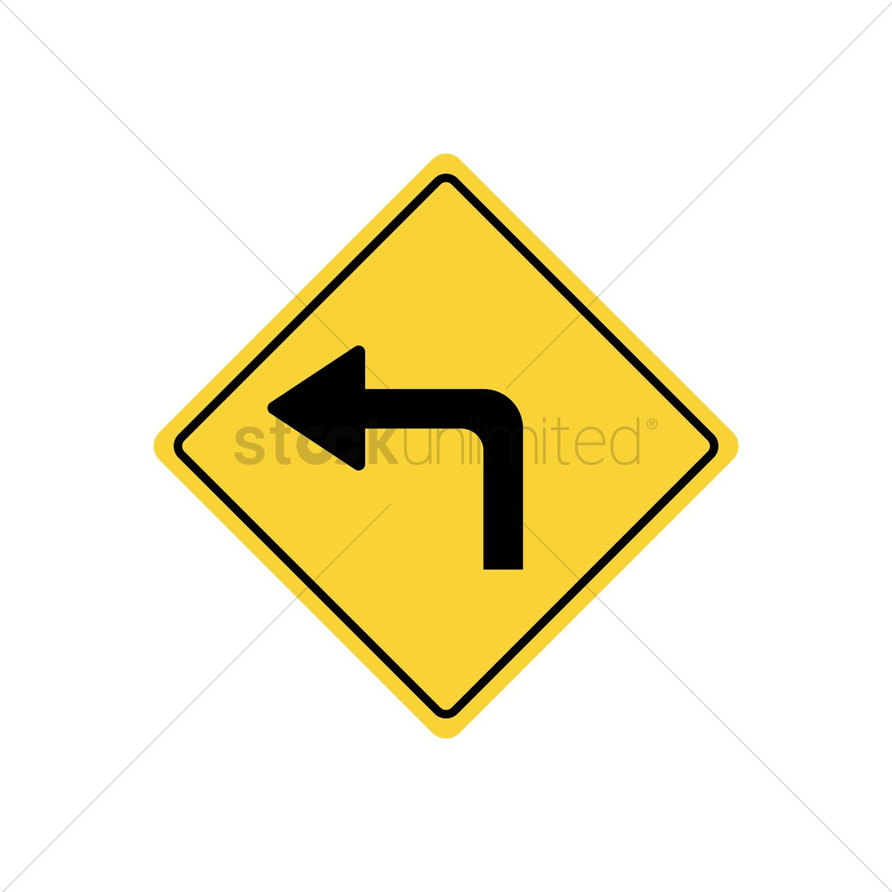 1300x1300 Sharp Left Turn Warning Vector Image