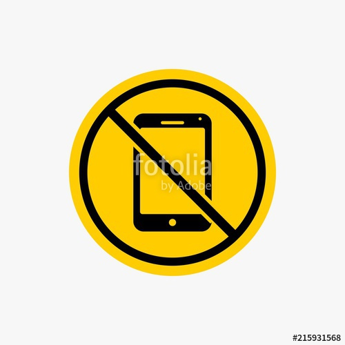 500x500 Silent Mode Handphone Icon, Sign Warning Vector Design Stock