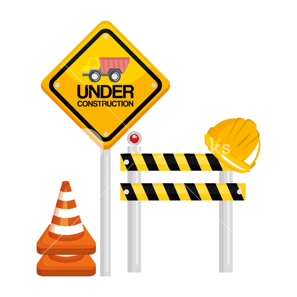 1000x1000 Under Construction Barrier Road Sign Cone Warning Vector