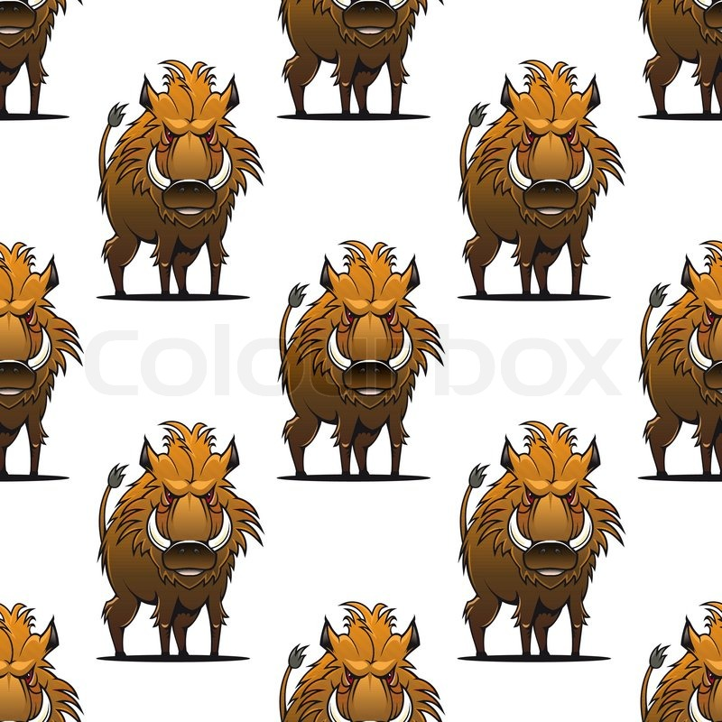 800x800 Fierce Angry Wild Boar Or Warthog Seamless Pattern Standing