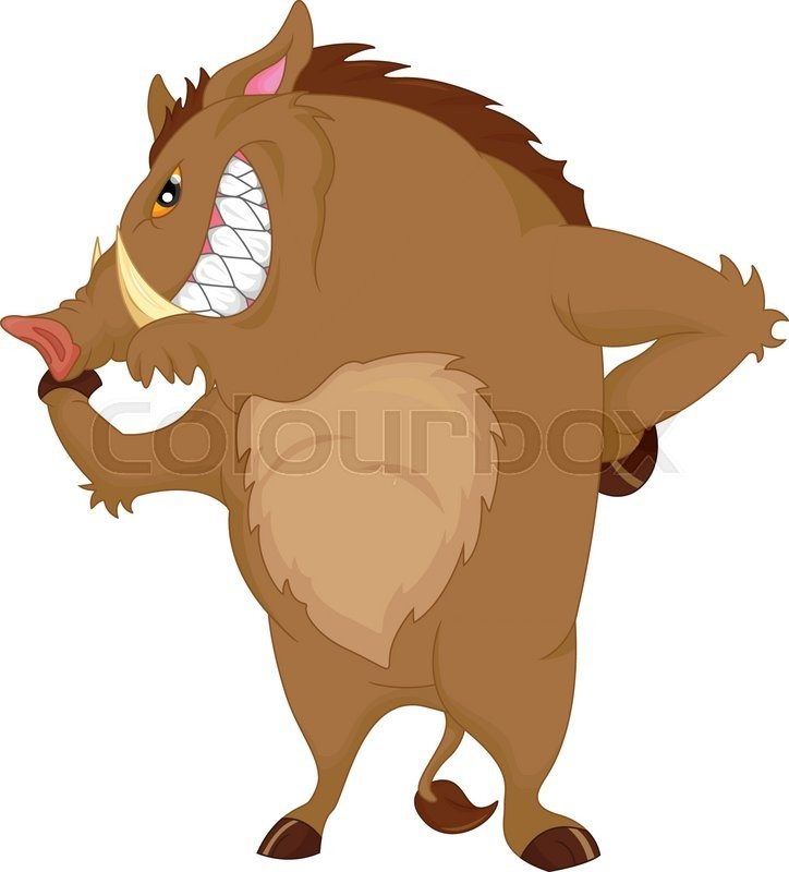 724x800 Vector Illustration Of Angry Warthog Cartoon Stock Vector