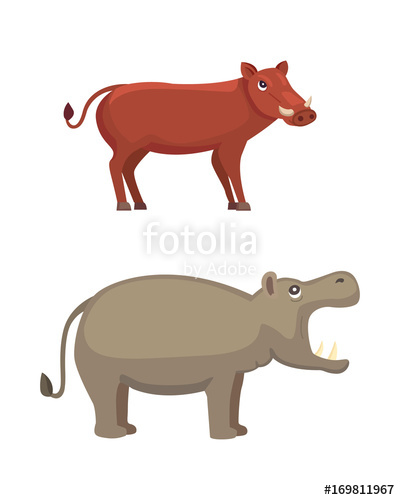 400x500 Hippo And Warthog Vector Cartoon Illustration Stock Image And