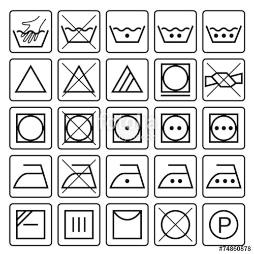 500x500 Laundry Care Symbols. Set Of Textile Care Icons. Wash And Care S