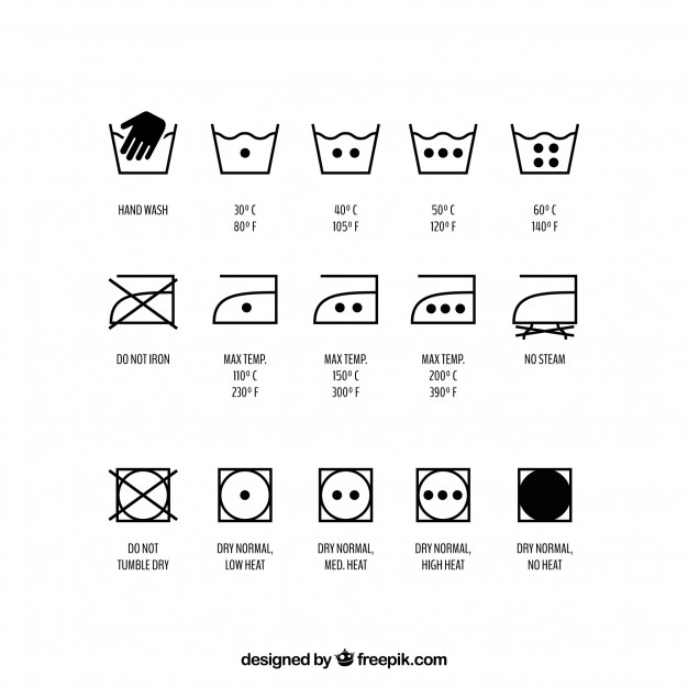 626x626 Set Of Washing Symbols, Vector Set Vector Free Download