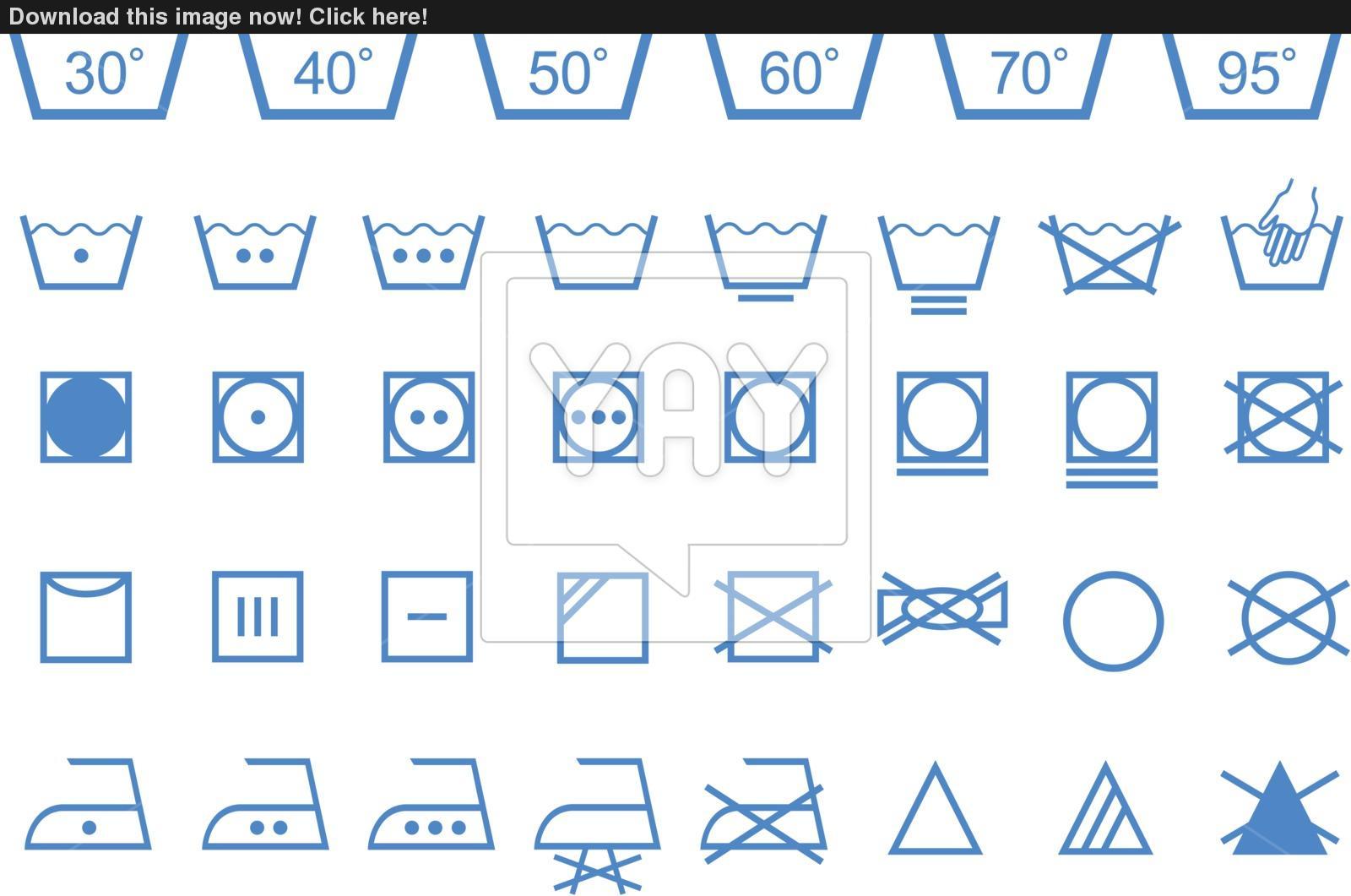 1600x1061 Washing Care Symbols, Vector Icon Set Vector