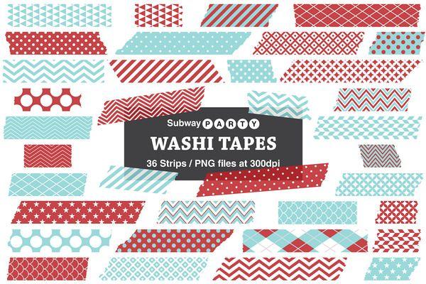 600x400 Xmas Aqua And Red Washi Tape Strips Design Washi