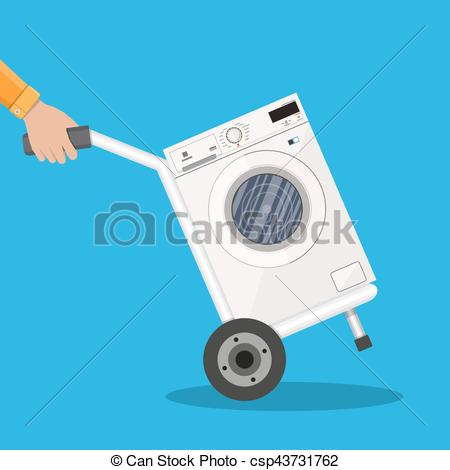 450x470 Metallic Hand Truck With Washing Machine. Delivery Concept. Vector