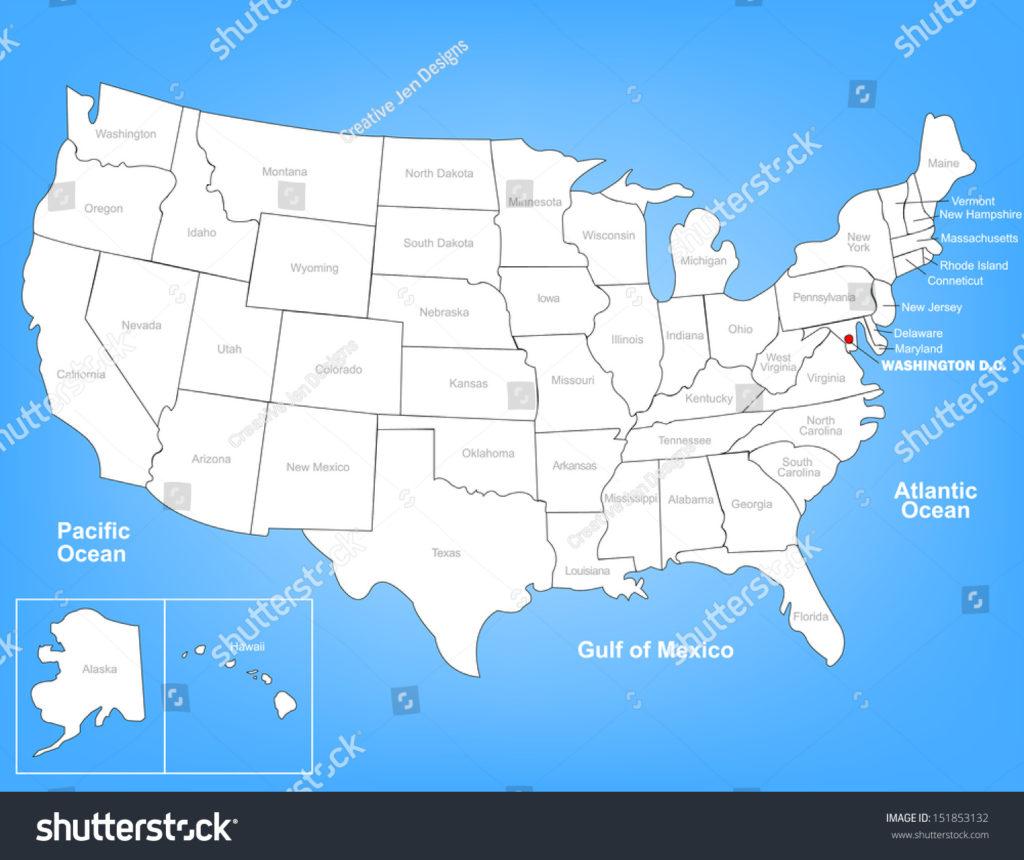 1024x860 Washington Dc On The Us Map Us Map Of States Washington Dc Stock